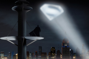 Batman Looking Up Superman Logo