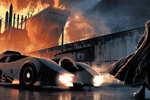Batman Nad Batmobile Wallpaper