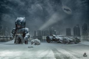 Batman Outside Gotham With Batmobile