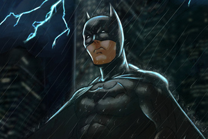 Batman Over Gotham Art Wallpaper