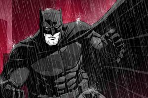 Batman Red Background Art