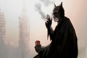 Batman Smoking And Drinking Beer Art Wallpaper