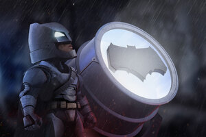 Batman Standing With Bat Signal