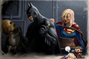 Batman Supergirl Funny Art 4k