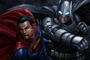Batman Superman Fight Artwork