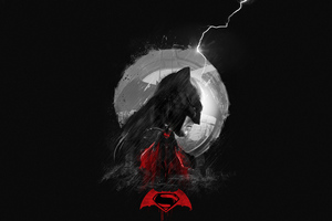 Batman Superman Minimal Art Wallpaper