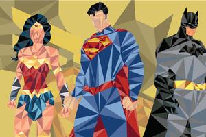 Batman Superman Wonder Woman Low Poly Art Wallpaper