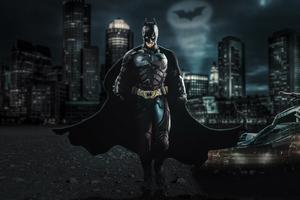 Batman The Dark Knight With Batmobile 4k