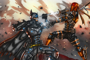 Batman Vs Deathstroke Art Wallpaper