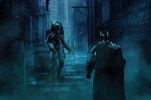 Batman Vs Predator Artwork Wallpaper