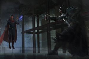 Batman Vs Superman Fight Fan Art 4k Wallpaper