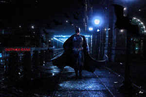 Batman Walking On Gotham Streets 4k Wallpaper