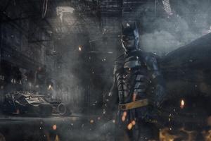 Batman With Batmobile 8k Wallpaper