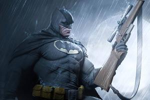 Batman With Gun Art 4k