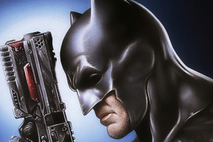 Batman With Gun Art Wallpaper