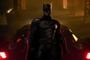 Batman With Muscle Bat Car 4k