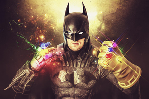 Batman With Thanos Gauntlet 5k Wallpaper
