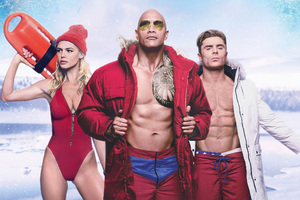 Baywatch Zac Efron Dwayne Johnson And Kelly Rohrbach Wallpaper