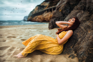 Beach Girl Long Hair Relaxing 5k Wallpaper