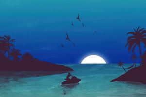 Beach Nights Minimal 4k Wallpaper