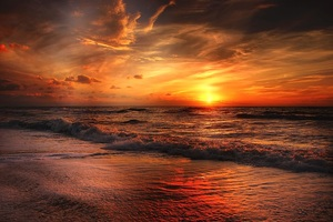 Beach North Sea Sunset Wallpaper