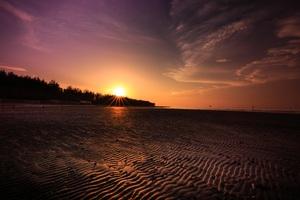 Beach Sand Sunset Evening Wallpaper