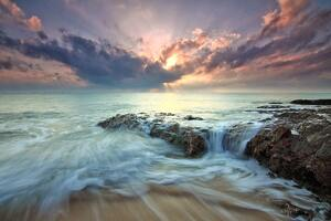 Beach Sea Dawn Dusk Landscape Ocean Rocks Sunlight Wallpaper