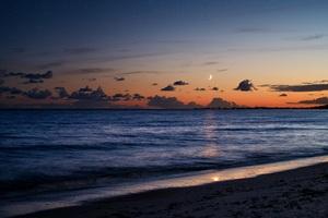 Beach Sea Evening Moon 5k Wallpaper
