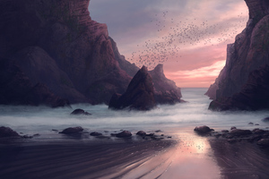 Beach Seaside Digital Painting 4k Wallpaper