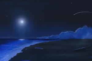 Beach Shooting Stars Moonlight 4k Wallpaper