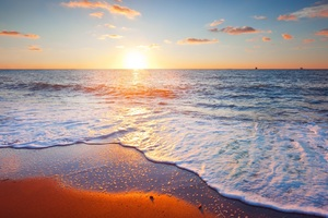 Beach Shore Sunset Wallpaper