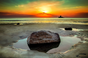 Beach Stone Rock Seashore Clouds Sunet