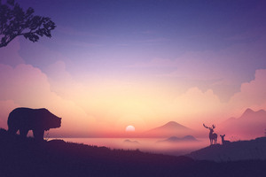 Bear Deer Mountains Sunrise Minimalism Artwork 8k Wallpaper