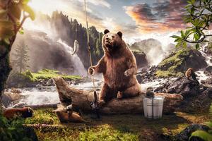 Bear In Jungle Along Side River