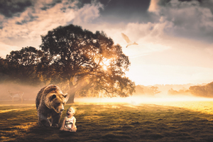 Bear With Child Fantasy Manipulation Wallpaper