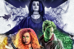 Beast Boy Raven And Starfire In Titans 2018