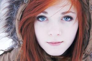 Beautiful Blue Eyes Red Head Girl 4k