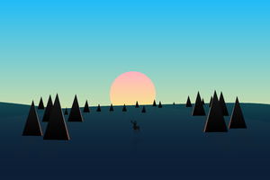 Beautiful Day Sunset Deer Minimal 8k Wallpaper