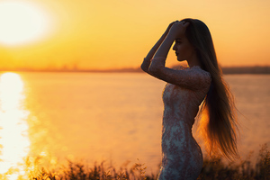 Beautiful Girl Silhouette Long Hairs 4k