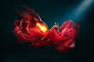 Beautiful Girl With Dragon Firing