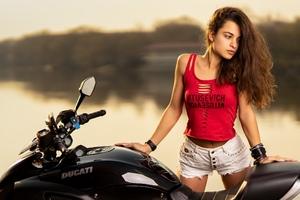 Beautiful Girl With Ducati Wallpaper
