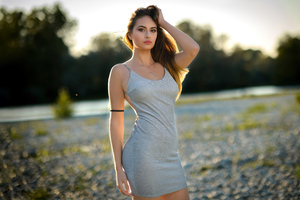Beautiful Model Silver Dress Outdoor 5k Wallpaper