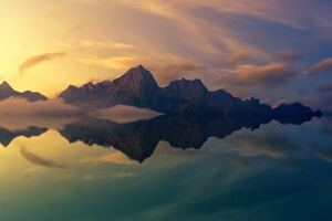 Beautiful Mountains Clear Reflection In Water