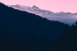 Beautiful Mountains Landscape Pink Tone