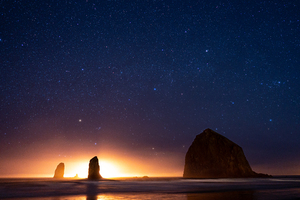 Beautiful Night In Cannon Beach At Haystack Rocks 5k Wallpaper