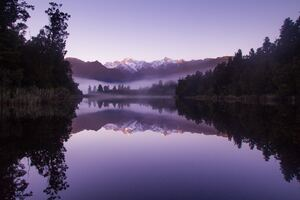 Beautiful Purple Weather Landscape Of Lake Matheson