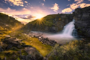 Beautiful Waterfall And Sunrise