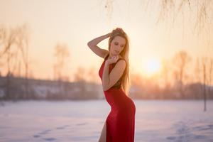 Beauty In Red Dress 5k Wallpaper