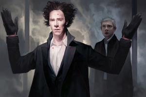 Benedict Cumberbatch And Martin Freeman Sherlock Artwork Wallpaper