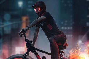 Bicycle Rider Fire Burnout 5k Wallpaper